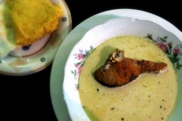 Hudut (Garifuna coconut soup with snapper)