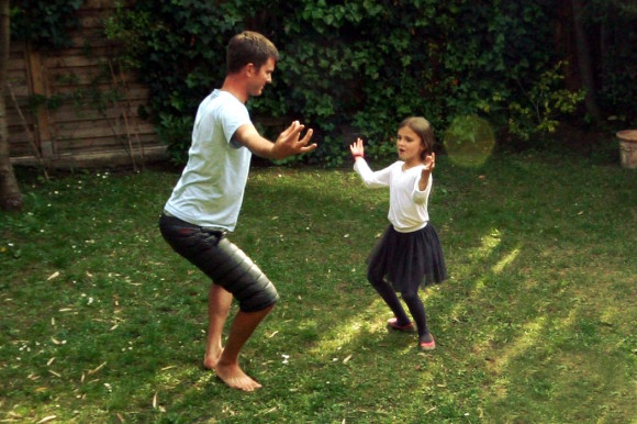 Blanche teaches Brad to dance ballet in the back yard. Brad quickly masters the skill, rising to the level of