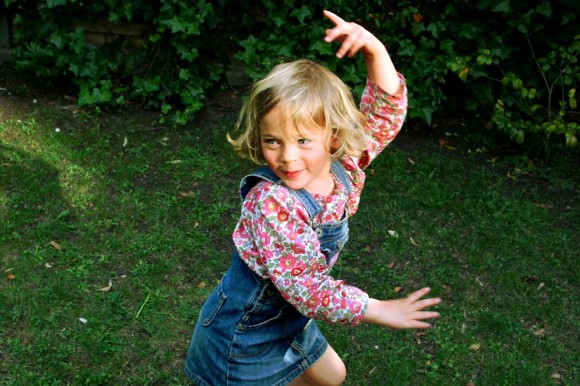 Having commandeered our camera, nine-year-old Blanche proves a photography whiz and captures little Jeanne executing a perfect pirouette.
