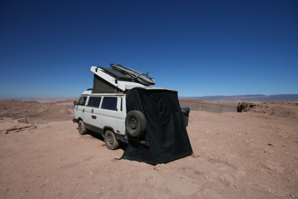 Hot shower in Atacama Desert
